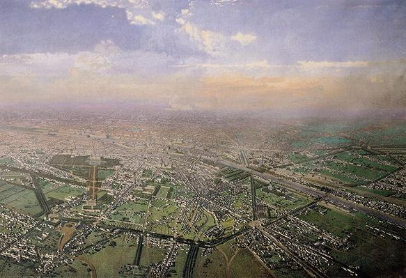 General view of Paris from a hot-air balloon, 1855