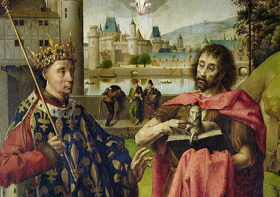 Parliament of Paris Altarpiece, detail of St. Louis and St. John the Baptist