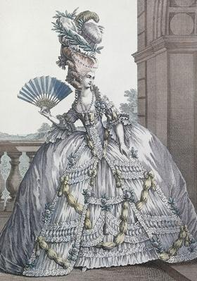 Woman wearing a stylish dress with her hair 'A la Victoire', engraved by Voysand, 1778
