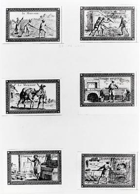 Six vignettes depicting bread making
