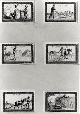 Six vignettes depicting the cultivation of cereals
