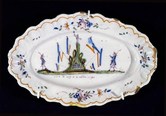 Oval plate with the inscription 'Vive le Roi et la Nation 1790', Nevers workshop,