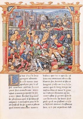 Ms 18 fol.150r Battle of Nancy in 1477, from the 'Memoires de Philippe de Commines'