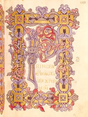 Ms 479 fol.32 Initial 'P' from 'Les Evangiles de l'Abbaye de Cysoing'