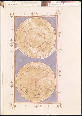 Ms 291 Tome 2 fol.297r Sundial of the miracle of Hezekiah, from 'Postilles sur la Bible' by Nicolas de Lyre