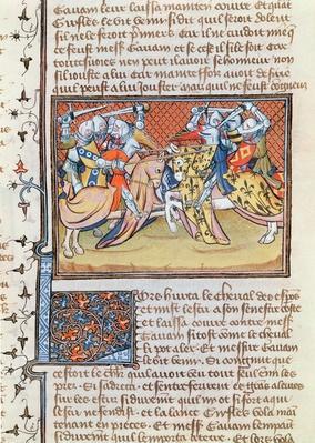 Ms 3479 t.1 fol.539 When the horses clash, from the 'Livre de Messire Lancelot du Lac'