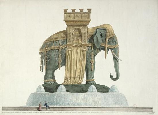 Design for the Elephant Fountain at the Place de la Bastille, 1813-14