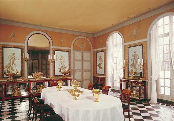 View of the dining room with Pompeiian style frescoes by Louis Lafitte