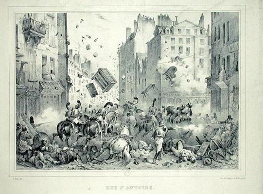Rue Saint-Antoine in July 1830, engraved by H. Delaporte