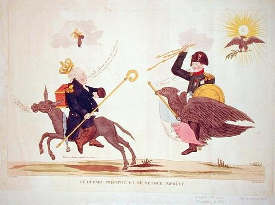 Caricature of the 'Hundred Days', The Hasty Departure and the Unexpected Return, 1815