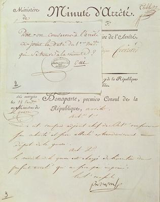 Official document signed by Napoleon I