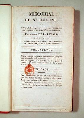 First page of 'Memorial de Sainte-Helene' by Emmanuel Las Cases