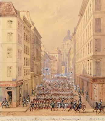 March of the First Battalion, Rue Culture Sainte-Catherine, 1st February 1848