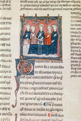 Ms 372 fol.243 The Marriage of a Widower, from 'Decrets de Gratien'