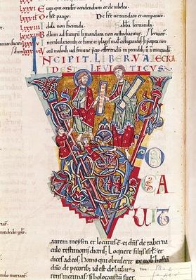 Ms 2 fol.41v Historiated intial 'V' depicting a scene from the Book of Leviticus, from the St. Benigne Bible