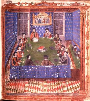 A Meeting at the Chambre des Comptes, from the 'Livre Ferre'