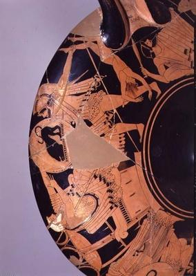 Detail of an attic red-figure cup depicting Neoptolemus trying to kill Priam with the corpse of Astyanax, c.490 BC