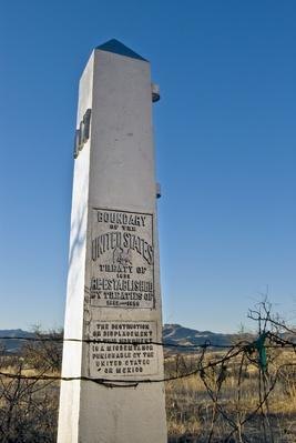 Monument marking US  border, Arizona | U.S. Immigration | 1840's to present | U.S. History