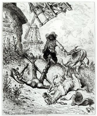 Don Quixote and the Windmills, from 'Don Quixote de la Mancha' by Miguel Cervantes