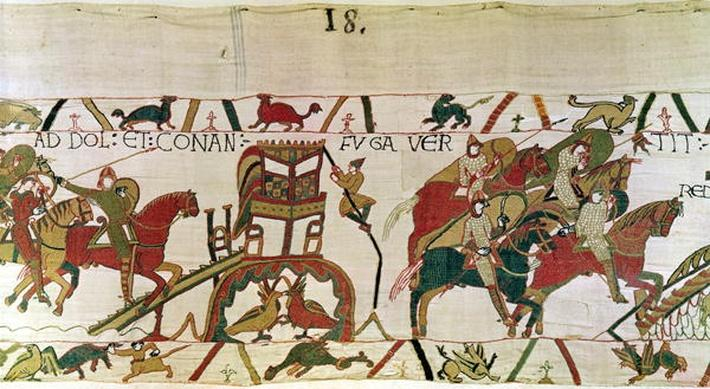 Conan flees from Dol, Duke William's knights fighting the men of Dinan and Rennes, detail from the Bayeux Tapestry, before 1082