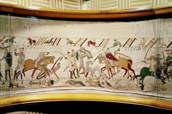 King Harold is killed and the English turn in flight, detail from the Bayeux Tapestry, before 1082