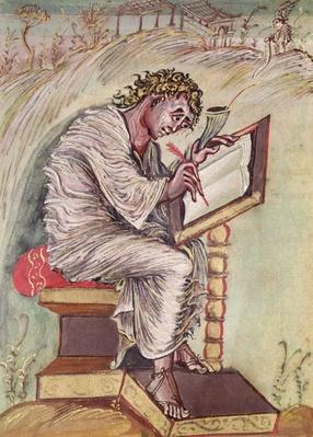 Ms 1 fol.18v St. Matthew, from the Ebbo Gospels, c.816-835