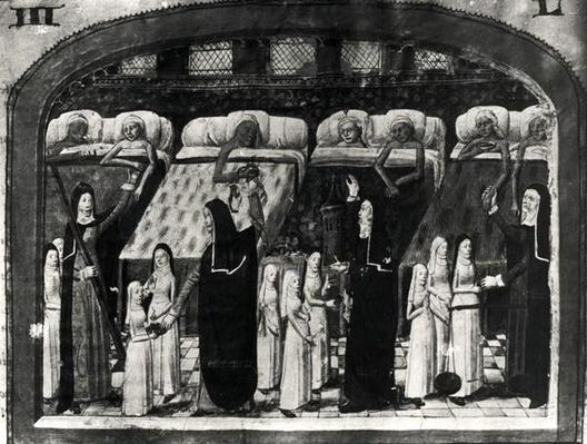 Nuns tending the sick at the Hotel Dieu, Paris, from 'Le Livre de Vie Active de l'Hotel Dieu', c.1482