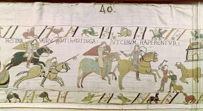 The Knights Ride to Hastings to Forage for Food, detail from the Bayeux Tapestry, before 1082