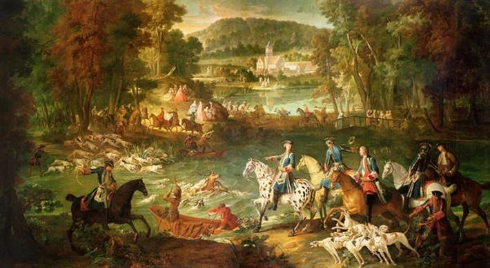 Hunting at the Saint-Jean Pond in the Forest of Compiegne, before 1734