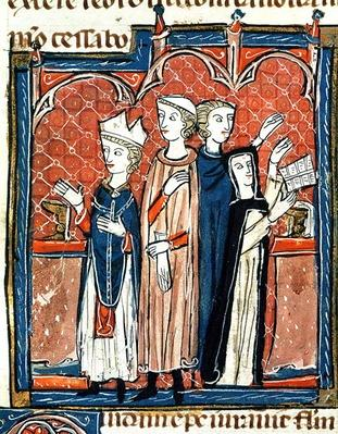 Ms 372 fol.59v A nun taking her vows and mass performed by a bishop, from 'Decrets de Gratien'