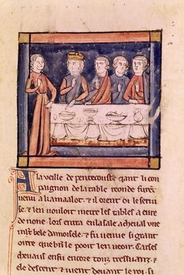 Ms 3347 fol.214 'On the Eve of Pentecost...', from 'Livre de Messire Lancelot du Lac'