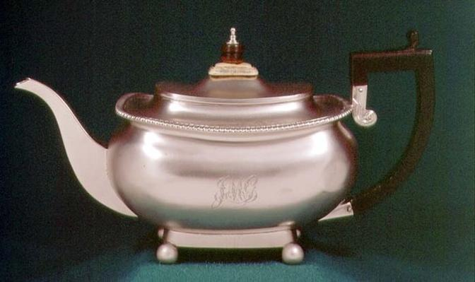 Teapot, part of a set of sugar-basin and milk jug, maker's mark SH, London, 1812-13