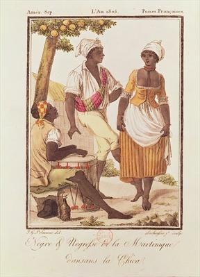 Negro and Negress from Martinique Dancing 'la Chica', engraved by Lachuassee, 1805