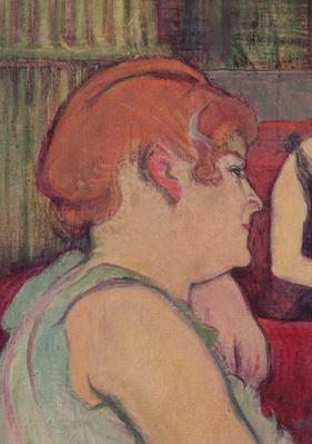 In the Salon at the Rue des Moulins, detail of one of the women, 1894