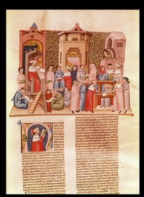 Ms 620 fol.173 A lesson at university and a historiated initial 'N' depicting a master, from 'Novela Super Sexto' by Jean Andre