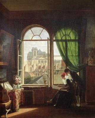View of Saint-Eustache Church from a House on Rue Platriere or, The Artist's Interior, c.1810