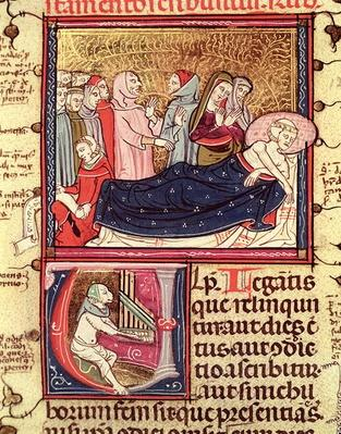 Fol.195v A Dying Man Dictating his Will, from 'Justiniani in Fortiatum'