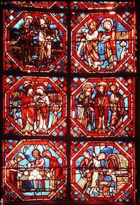 Window depicting the Parents of Christ and bakers baking and selling bread, from the apse