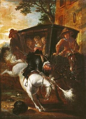 With a Musket on his Back, Ragotin Climbs onto his Horse to Accompany the Troupe, from 'Roman Comique' by Paul Scarron