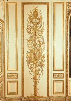 Panelling detail with a trophy shield, lyre, sceptre and caduceus for the 'Salon de Compagnie' of the Hotel d'Uzes in Paris, made by Jean Baptiste Boiston and Joseph Metivier, c.1768