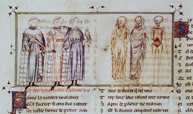 Ms 3142 fol.311r The Story of the Three Living Men and the Three Dead Men, from 'Recueil de Poesies Francaises', c.1280-90
