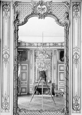 Photograph of a mirror at the Chateau de Versailles with the reflection of Giraudon's camera, c.1890