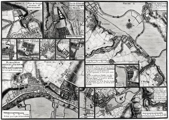 Fol.7 & 98 Map of the towns and chateaux situated along the Charente River in 1714, from 'Recueil des Plans de Saintonge'
