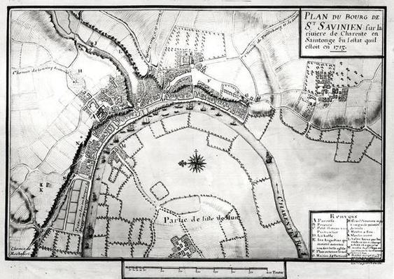 Fol.99 Map of Saint-Savinien on the Charente River in 1713, from 'Recueil des Plans de Saintonge'