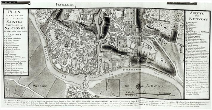 Atlas 131 fol.13 Map of Saintes, capital of Saintonge, from 'Recueil des Plans de Saintonge', 1711