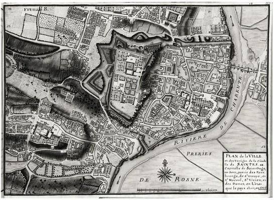 Atlas 131 F fol.8 Map of Saintes, capital of Saintonge, from 'Receuil des Plans de Saintonge', 1716