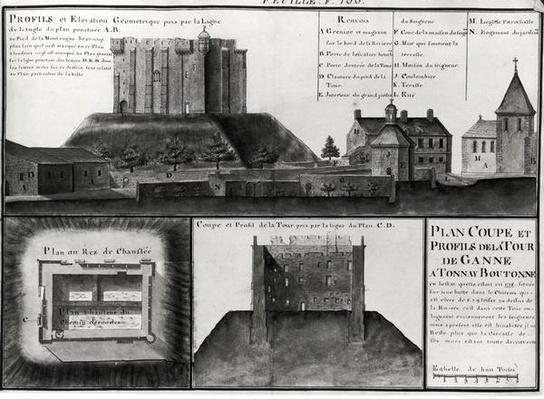 Fol.106 Cross-section and profile drawing of the Tour de Ganne at Tonnay Boutonne, from 'Recueil des Plans de Saintonge'