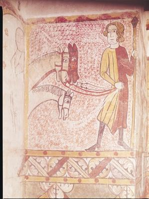 Horseman holding the reins of three horses, from the North Wall, c.1265