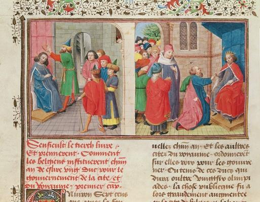 Ms 149 t.1 fol.108v How the Belgians Elect a Duke, from the 'Histoire des Nobles Princes de Hainaut', by Jacques de Guise