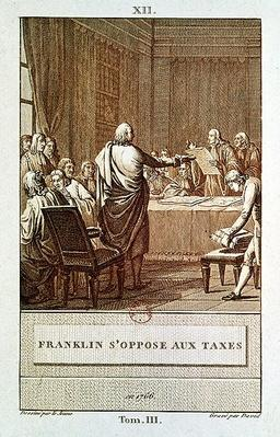 Benjamin Franklin Presenting his Opposition to the Taxes in 1766, engraved by David
